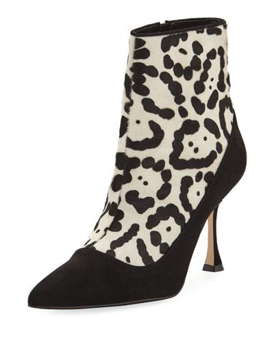 Dolorov Suede & Leopard-Print Calf Hair Bootie