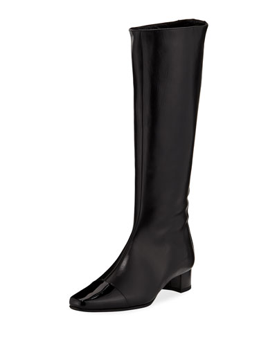 Wakia Leather Cap-Toe Knee Boot
