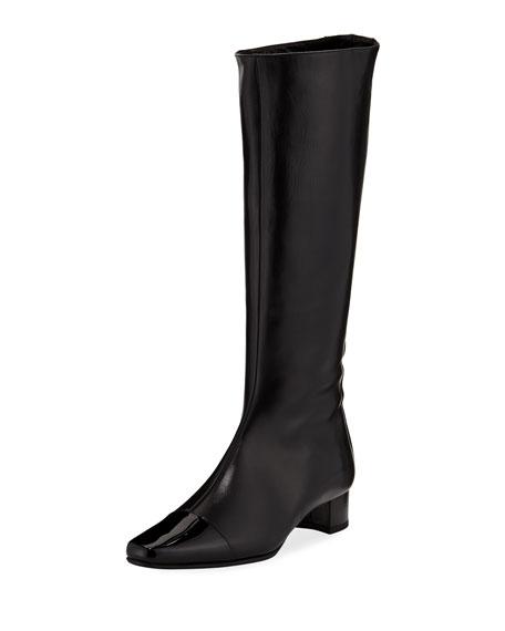 Wakia Leather Cap-Toe Knee Boot