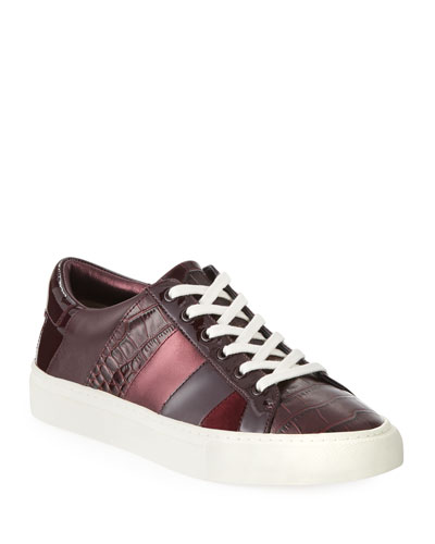 Ames Mixed Leather Low-Top Sneakers