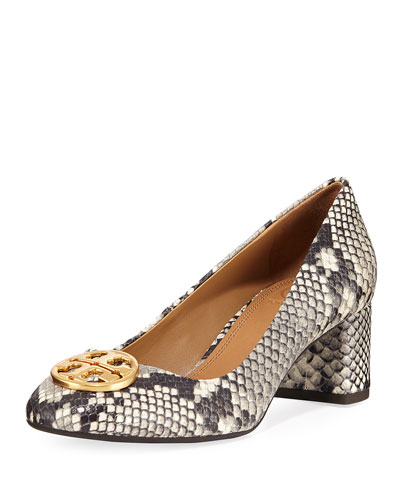 Chelsea Snake-Embossed Block-Heel Pumps