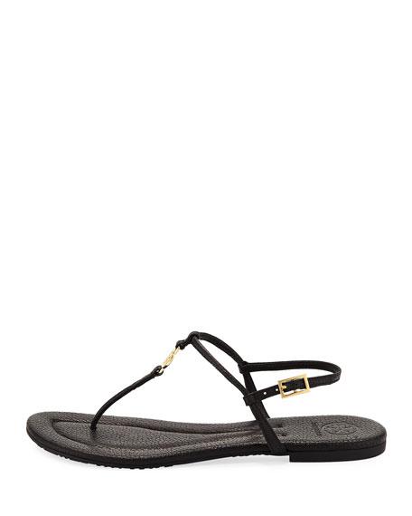 Emmy Flat Crackled Leather Sandal