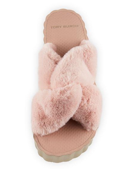 Faux-Fur Scallop Wedge Slide Sandal