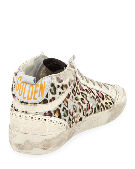 Superstar Leopard Calf Hair Mid-Top Sneaker