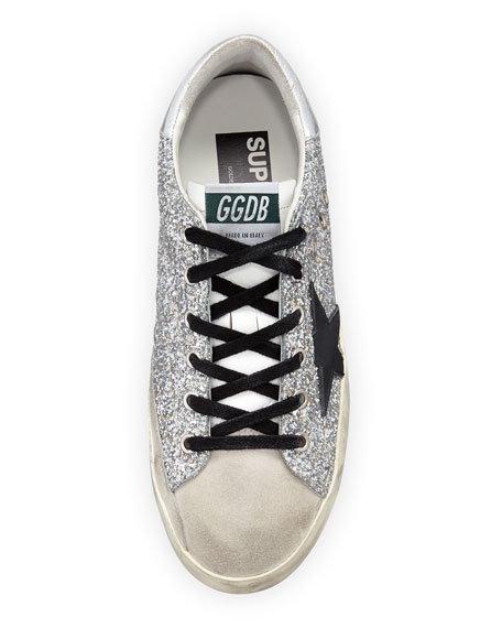 Superstar Glitter Fabric & Suede Low-Top Sneakers