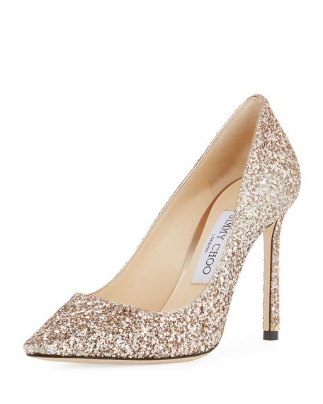 Jimmy Choo Romy 100mm Shadow Coarse Glitter Pointed-Toe