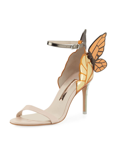 Chiara Mid-Heel Embroidered Butterfly Sandals