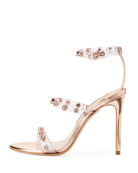 Rosalind Gem Vinyl Ankle-Wrap Sandals
