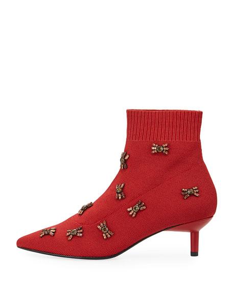 Betti Embellished Kitten-Heel Booties