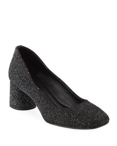 Camy Glitter Block-Heel Pumps