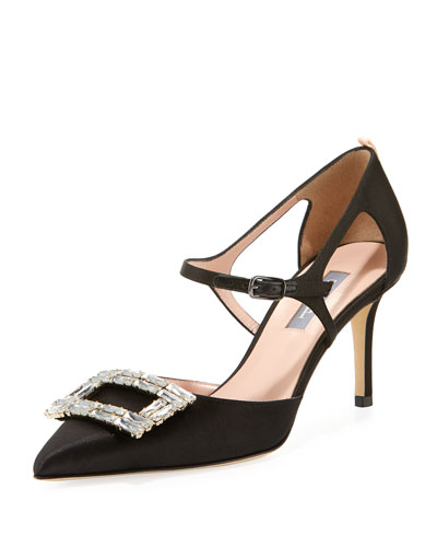 Phoebette Satin Buckle Pump
