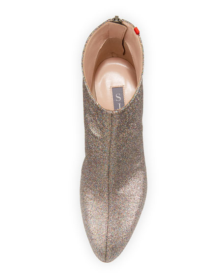 SJP by Sarah Jessica Parker Minnie 75mm Sparkle Glitter Almond-Toe Booties