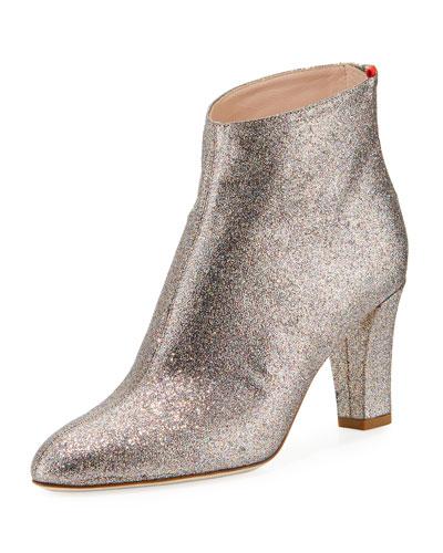 Minnie 75mm Sparkle Glitter Almond-Toe Booties