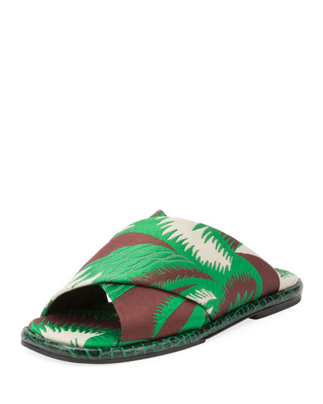 Dries Van Noten Crisscross Jungle Flat Slide Sandal