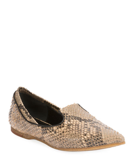 Snakeskin-Stamped Leather Loafers, Camel