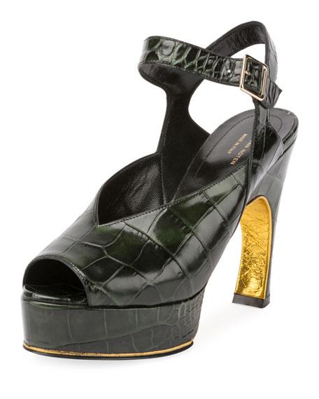 Dries Van Noten Asymmetric Croc-Print Platform Sandal