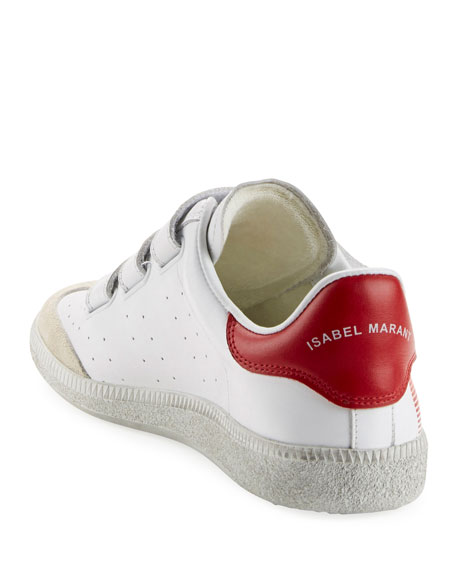 Beth Logo Leather Grip-Strap Sneakers