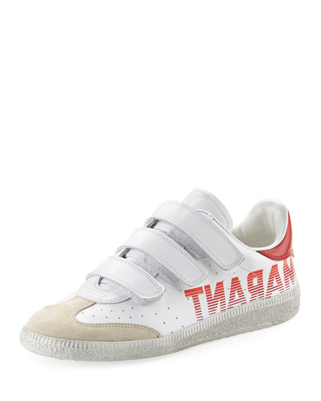 Isabel Marant Beth Logo Leather Grip-Strap Sneakers