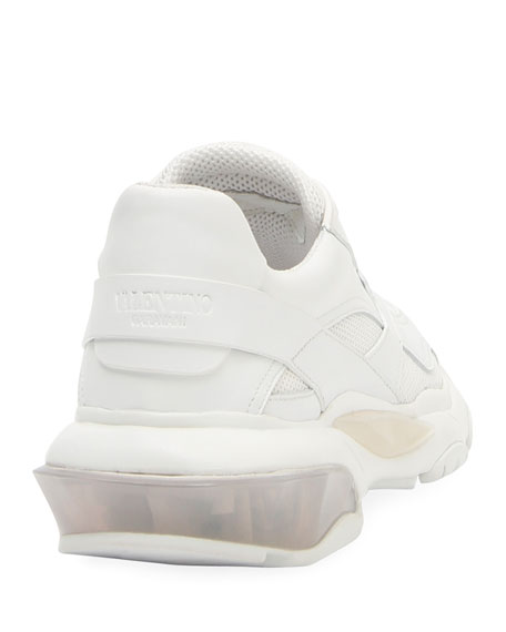 Bounce Leather/Nylon Lace-Up Sneakers