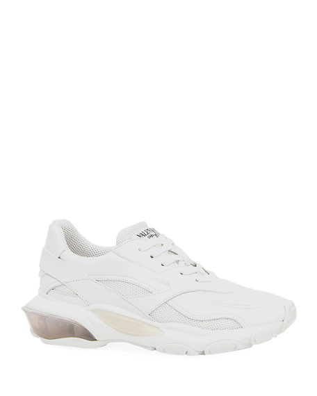 Bounce Leather/Nylon Lace-Up Sneakers in White
