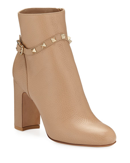 Valentino Garavani Rockstud Leather Zip Bock-Heel Booties
