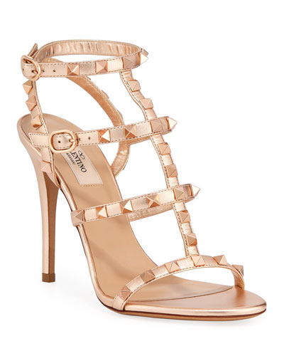 Rockstud Caged Metallic Sandals