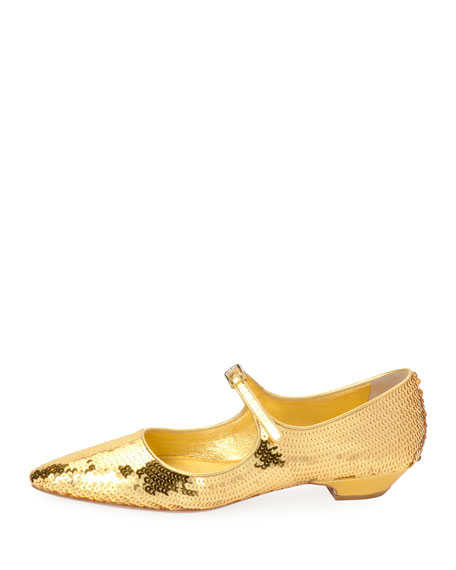 Mary Jane Sequined Skimmer Flat