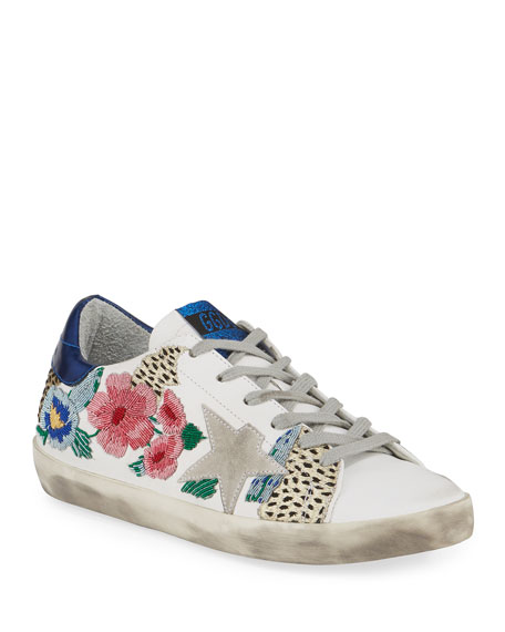 Golden Goose Superstar Floral Embellished Leather Low-Top