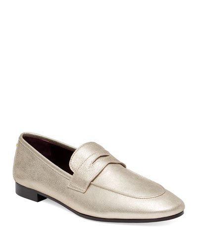 Flaneur Metallic Leather Loafers