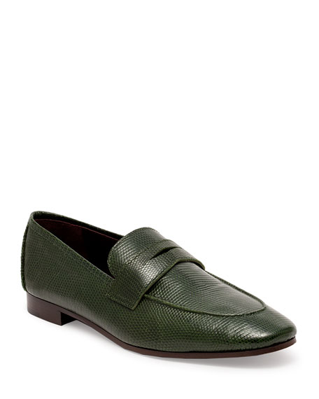 Bougeotte Flaneur Shiny Lizard Penny Loafers