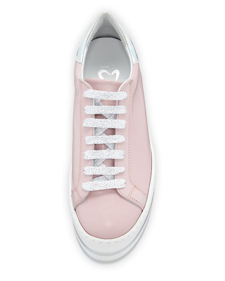 Lace-Up Patent Platform Sneakers