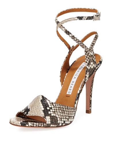Suma Python-Print Ankle-Wrap Sandals