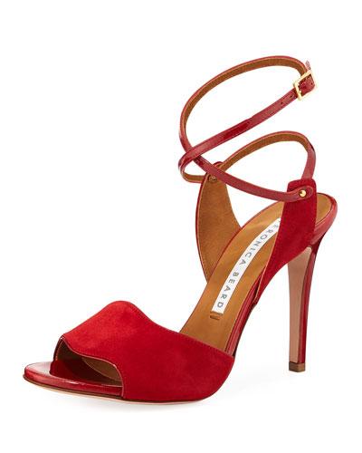Suma Fine Suede High-Heel Ankle-Wrap Sandals