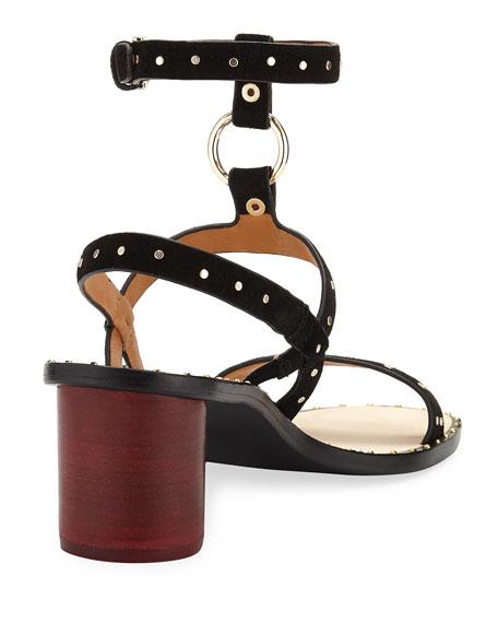 Medalca Studded Suede Harness Sandal