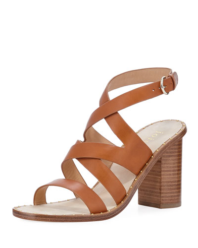 Onfer Strappy Leather Block-Heel Sandal