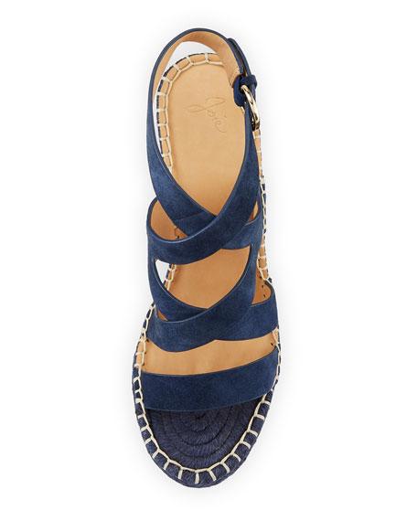 Korat Studded Suede Crisscross Wedge Espadrille Sandal