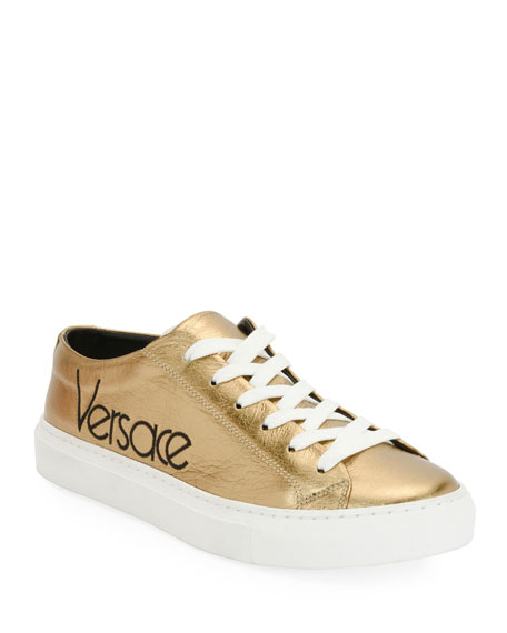 Versace Metallic Logo Platform Low-Top Sneaker