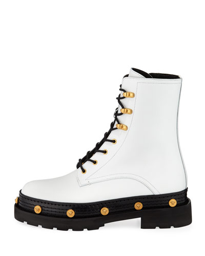Versace Medusa Medallion Lace-Up Combat Boots