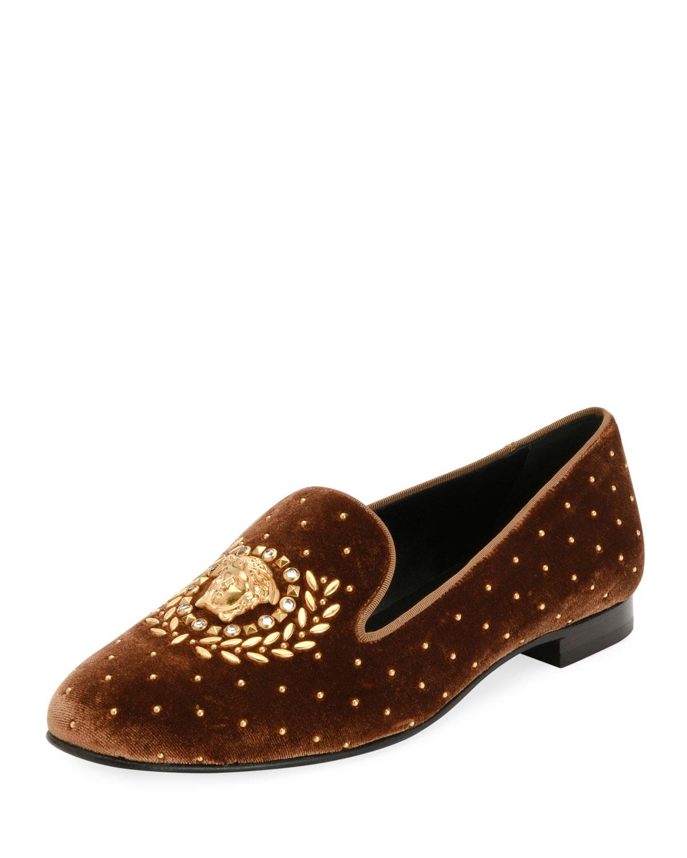 versace icon medusa velvet smoking slipper loafer flat neiman marcus. Black Bedroom Furniture Sets. Home Design Ideas