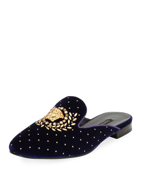 Icon Medusa Velvet Loafer Mule Flat, Purple