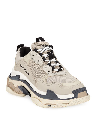 Mesh & Leather Trainer Sneakers