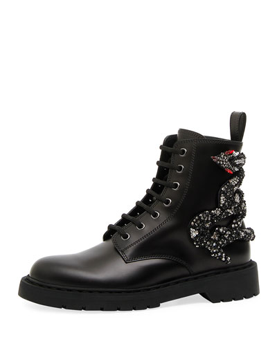 Snake Leather Combat Boot