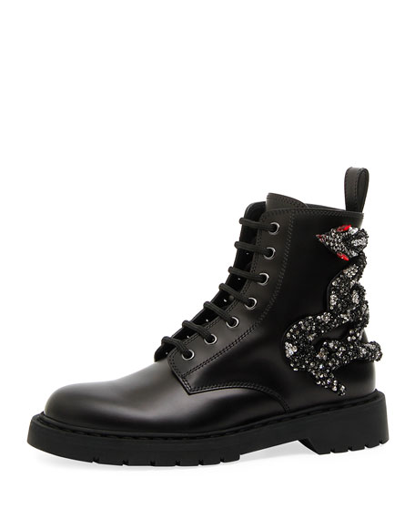 Valentino Garavani Snake Leather Combat Boot