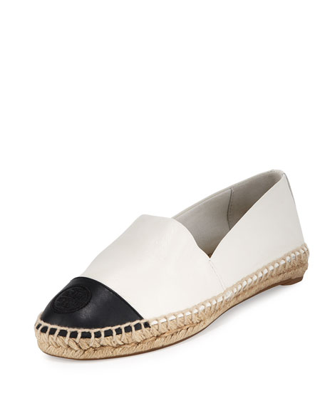 Tory Burch Colorblock Cap-Toe Espadrille Flat, Ivory/Black