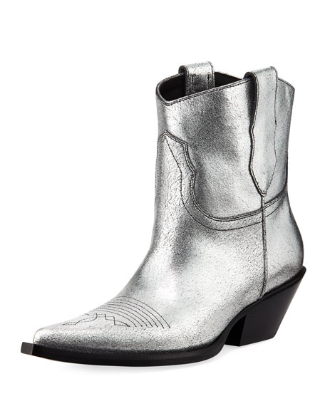 Maison Margiela Metallic Leather Cowboy Booties