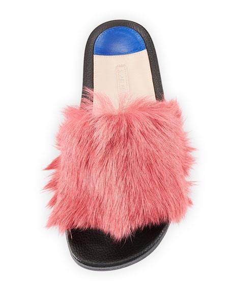 Delano Fluffy Fur Flat Slide Sandal