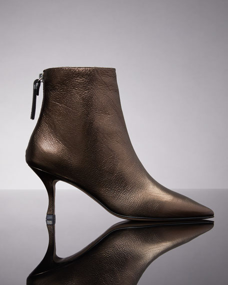 Juniper Metallic Leather Mid-Heel Booties