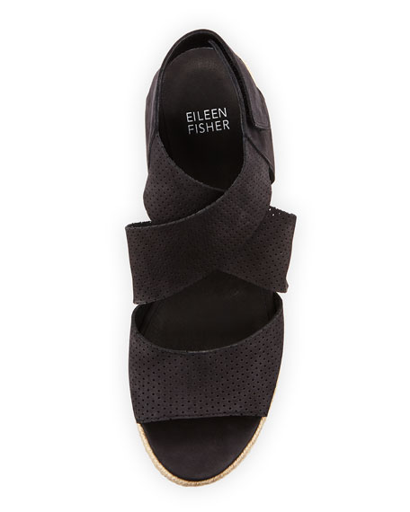 0f4ac42ff0e6 Eileen Fisher Willow Perforated Nubuck Espadrille Sandal