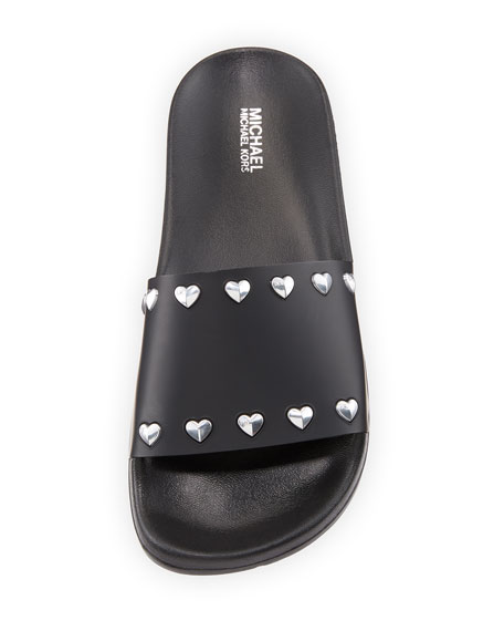 Zooey Heart-Stud Pool Slide Sandal