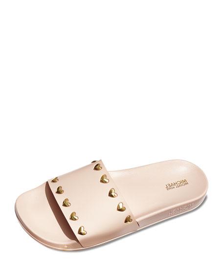 Zooey Heart-Stud Pool Slide Sandal